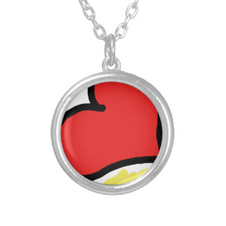 red happy heart silver plated necklace