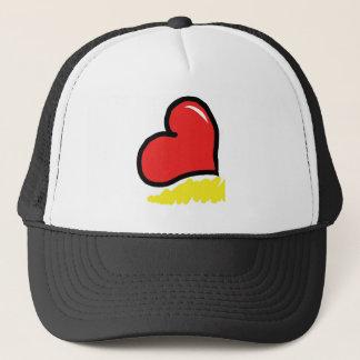 red happy heart trucker hat