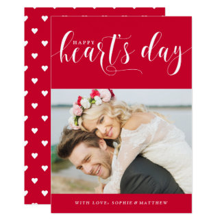 "Red Happy Heart's Day | Photo Valentine's Day 5"" X 7"" Invitation Card"