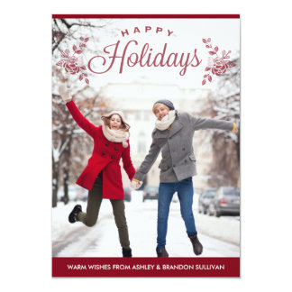"""Red Happy Holidays Typography Holiday Photo Card 5"""" X 7"""" Invitation Card"""
