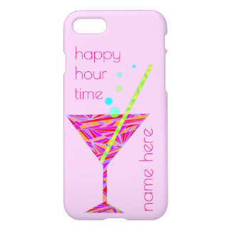 Red Happy Hour Cocktail iphone7 Add Your Name iPhone 7 Case