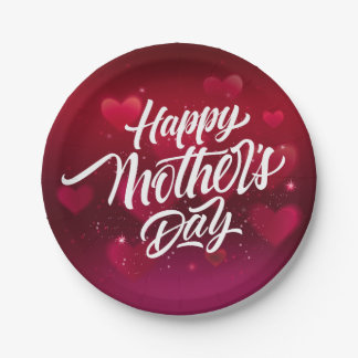 Red happy mother's day hearts background 7 inch paper plate