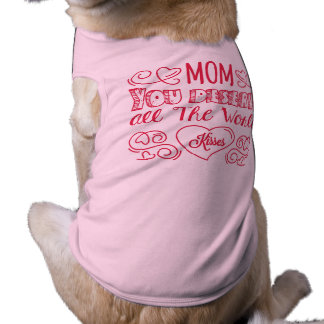 Red happy mother's day hearts background doggie tshirt
