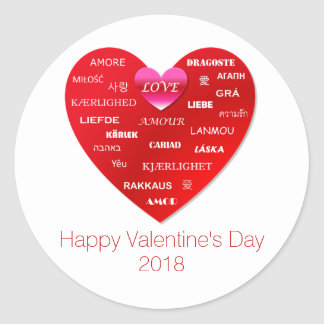 Red Happy Valentine's Day Love in Many Languages Classic Round Sticker