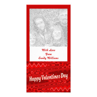 red  Happy Valentines Day Custom Photo Card