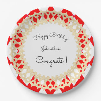 Red-Harlequin-Gold-Shield_Celebration_Template 9 Inch Paper Plate