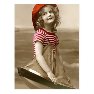 Red Hat and Sailboat Postcard