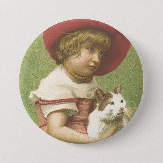 Red Hat Girl Holding A Cat  Ephemera 3 Inch Round Button