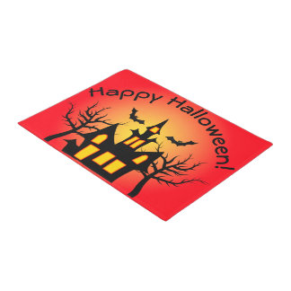 Red Haunted House and Bats Doormat