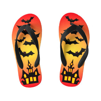 Red Haunted House and Bats Kid's Flip Flops