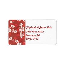 Red Hawaii Return Address Label
