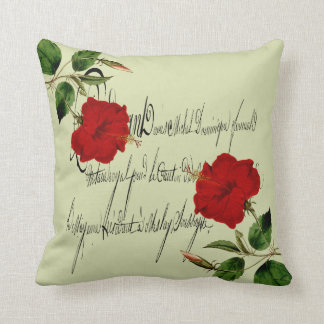 Red Hawaiian Hibiscus With Vintage Overlay Throw Pillow