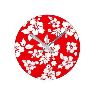 Red Hawaiian Pattern Clock