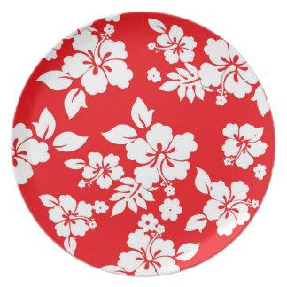 Red Hawaiian Pattern Dinner Plates