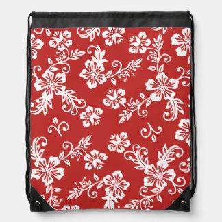 Red Hawaiian Print Drawstring Backpack