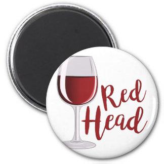 Red Head 2 Inch Round Magnet
