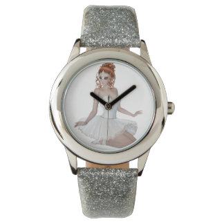 Red Head Ballerina Custom Silver Glitter Watch