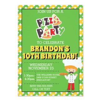 Red Head Boy Pizza Party Birthday Invitation