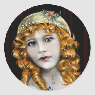 Red Head girl,  Victorian face Classic Round Sticker