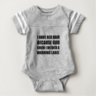 Red Head Hair Warning Label Funny Baby Bodysuit