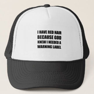 Red Head Hair Warning Label Funny Trucker Hat