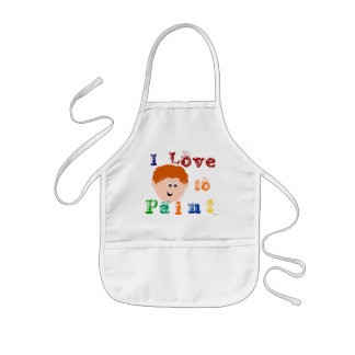 Red Head Little Boy Face Painting Kids Apron
