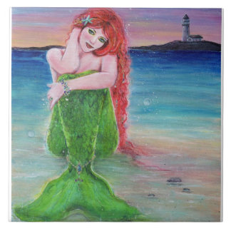 Red head mermaid on the beach with lighthouse. ceramic tiles