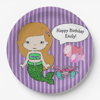 Red Head Mermaid Purple Birthday Party Plates 9 Inch Paper Plate