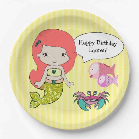 Red Head Mermaid Yellow Birthday Party Plates 9 Inch Paper Plate