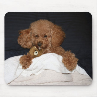 Red Headed Poodle Mouse Pad  - Sleepy