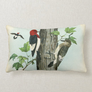Red-Headed Woodpeckers Nature Antique Tree Lumbar Pillow