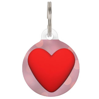 Red heart - 3D render Pet ID Tag