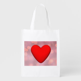 Red heart - 3D render Reusable Grocery Bag