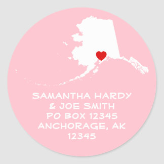 Red Heart Alaska Address Classic Round Sticker