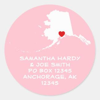 Red Heart Alaska Address Round Sticker