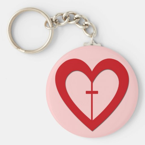 RED HEART AND CROSS KEYCHAINS