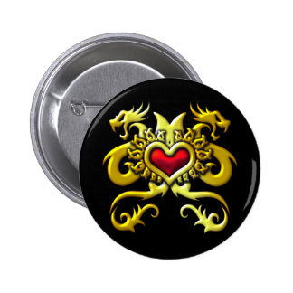RED HEART AND DRAGONS 2 INCH ROUND BUTTON