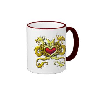 RED HEART AND DRAGONS COFFEE MUG