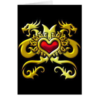 RED HEART AND DRAGONS GREETING CARD