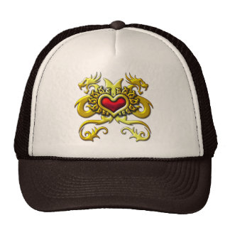 RED HEART AND DRAGONS MESH HAT