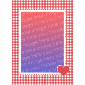 Red Heart and Gingham Photosculpture Template Photo Cut Out