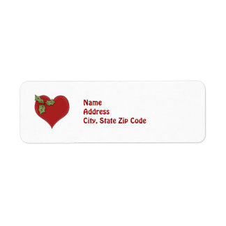 Red Heart and Green Holly Holiday Return Address