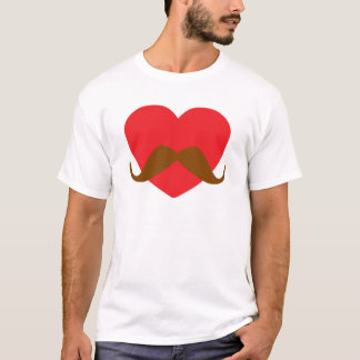 red heart and mustache T-Shirt
