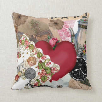 Red Heart and Paris Throw Pillow