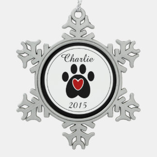 Red Heart and Paw Print Pewter Snowflake Ornament