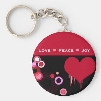 Red heart basic round button keychain