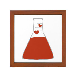 Red Heart Beaker Chemistry Desk Organizer