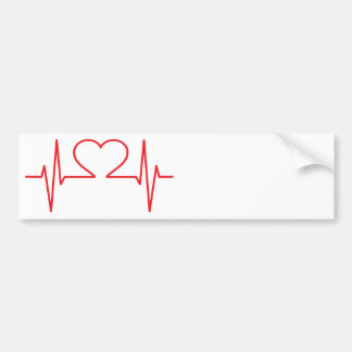 Red Heart Beat Line Bumper Sticker