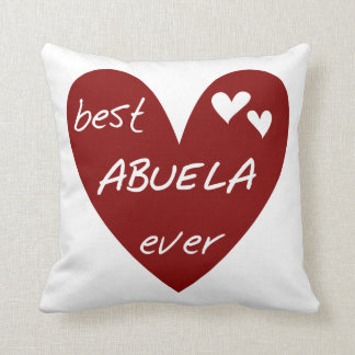 Red Heart Best Abuela Ever Gifts Throw Pillow