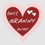 Red Heart Best Granny Ever Tshirts and Gifts Heart Sticker